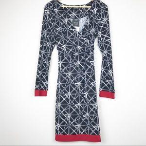 Nicole Miller Tie Waist Abstract Windowpane Dress